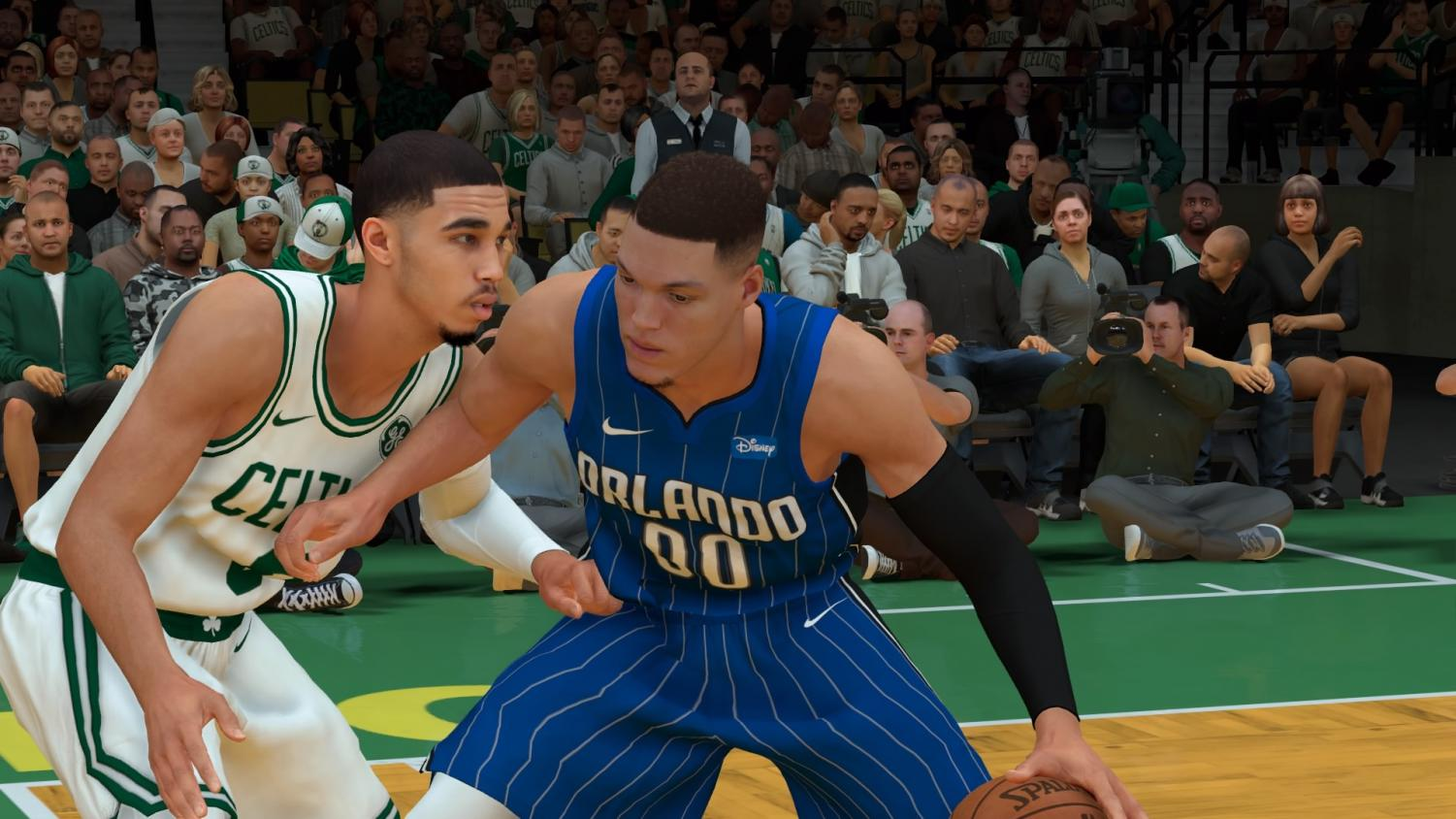 Aaron Gordon and Jayson Tatum battling for post position in NBA 2K19