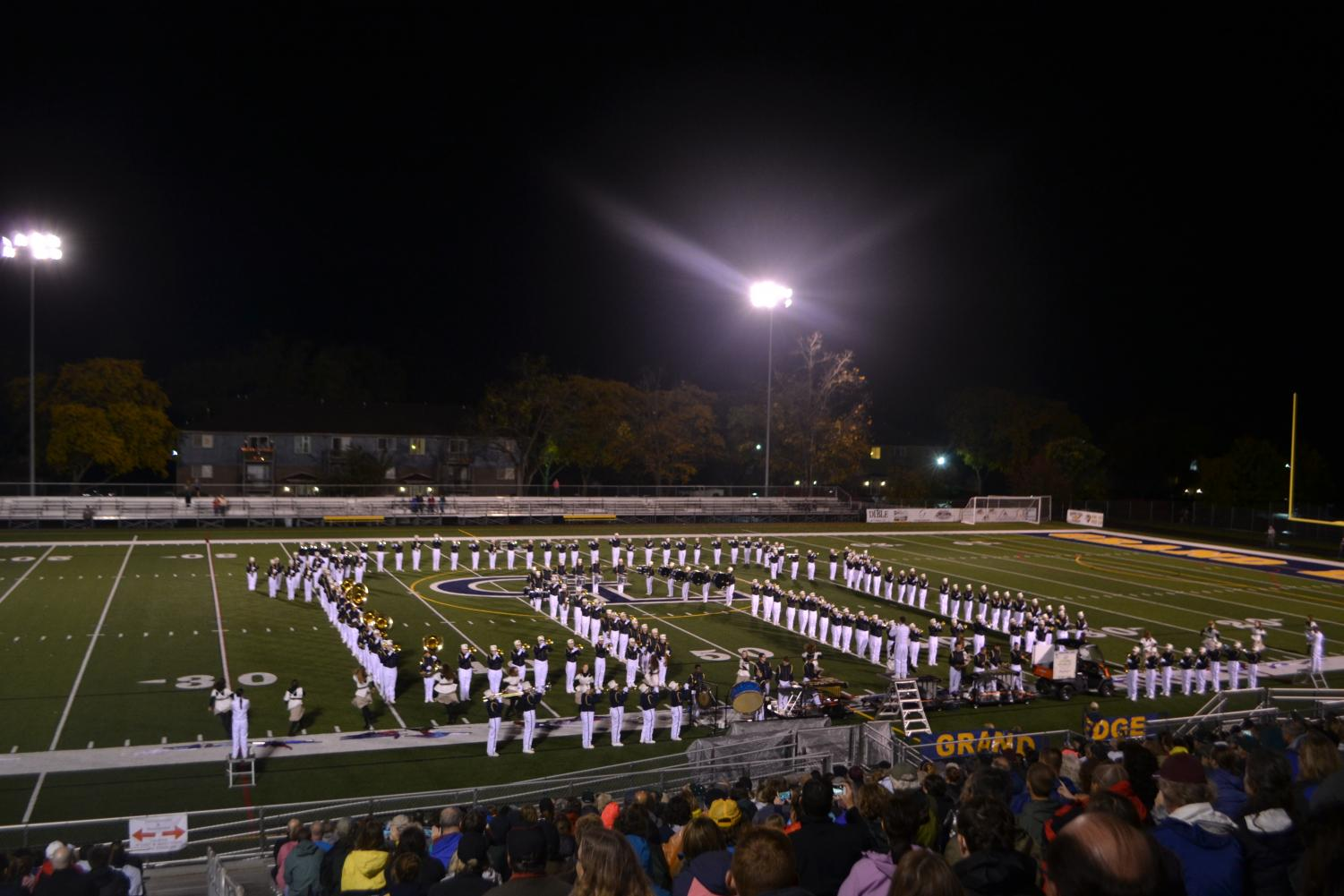 The GLHS Marching band perform at an exhibition on Oct. 10th. They formed a house as they played the song,