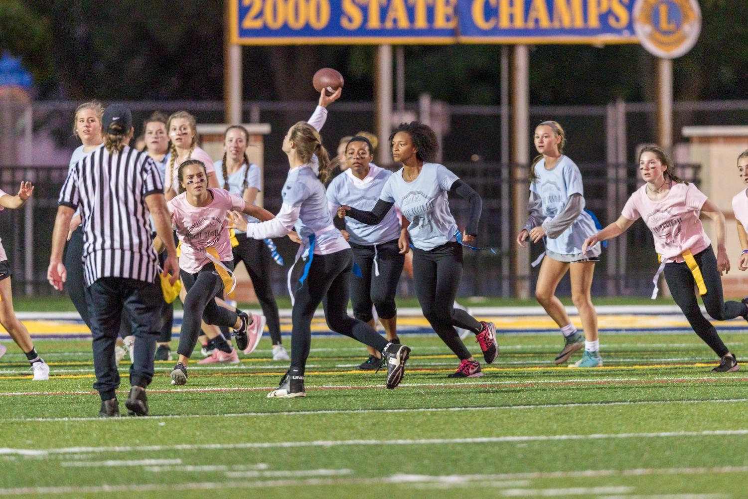 Grand Ledge Seniors face off against the Sophomores in the new sexism free Female Football League. In the 2018 season, the sophomores won the tournament.