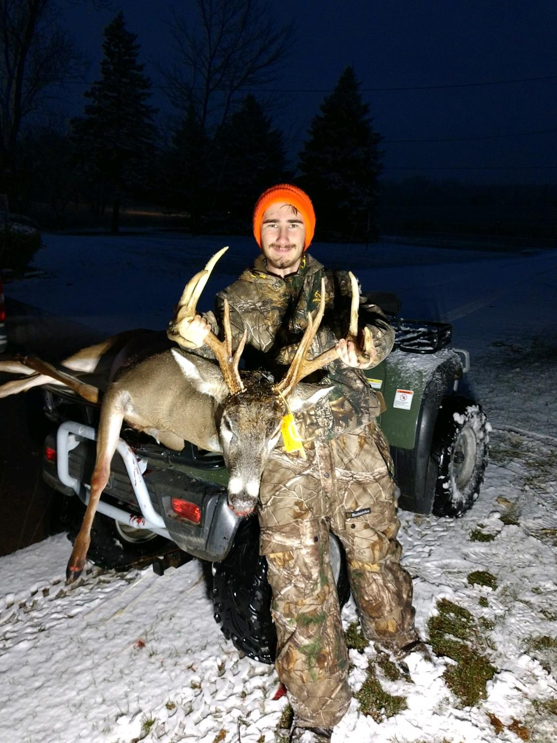 Mason Sears (12) with his 11 point Whitetail buck taken on opening day of the firearm season. Mason Sears was raised to be an outdoorsmen by his family.