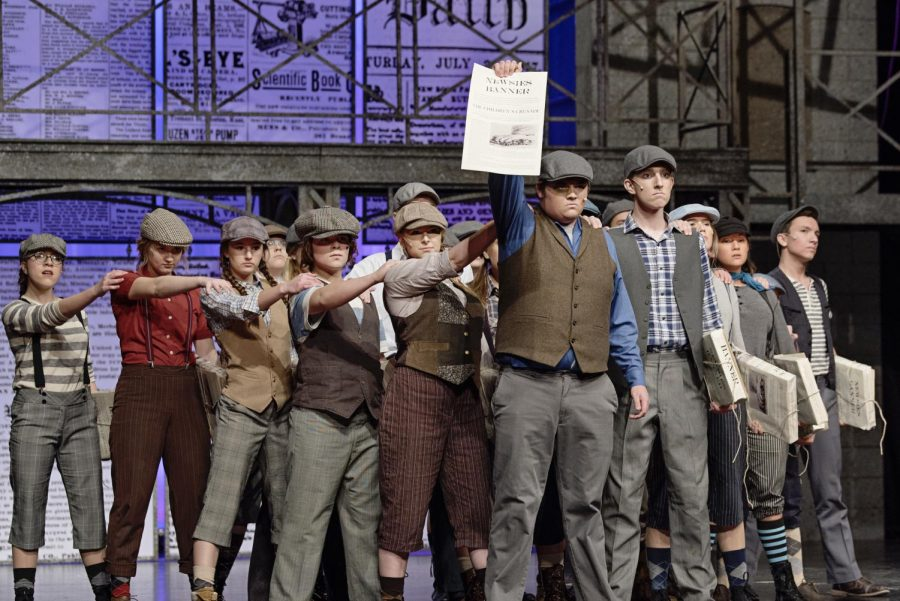 Cast of the Newsies Protesting. This photo was taken near the end of the musical.