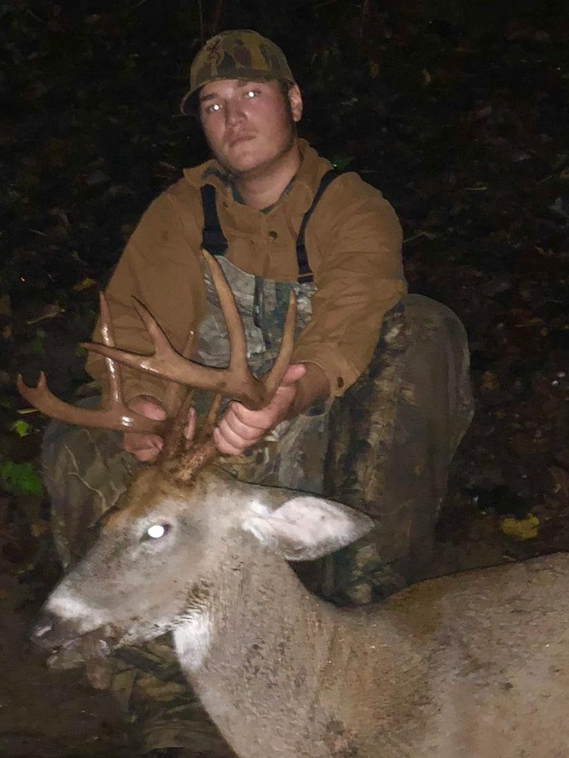 Alex Dines (12) with his ten point buck he shot on Oct. 2. Alex has won Mr. Glinke's Big Buck Contest the last three years.