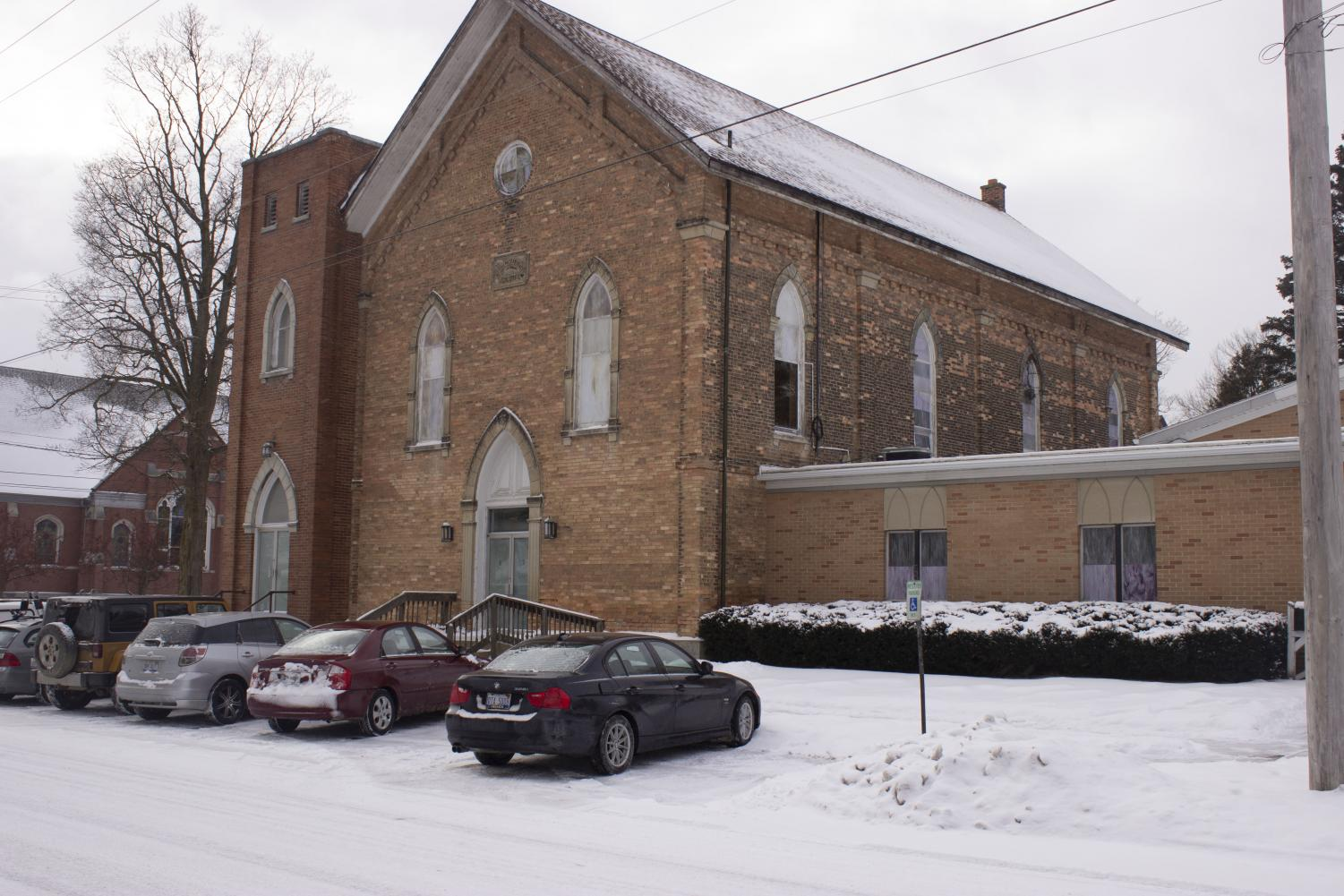 A front view of the church in downtown Grand Ledge. The front of the Building can be seen from West Scott Street.