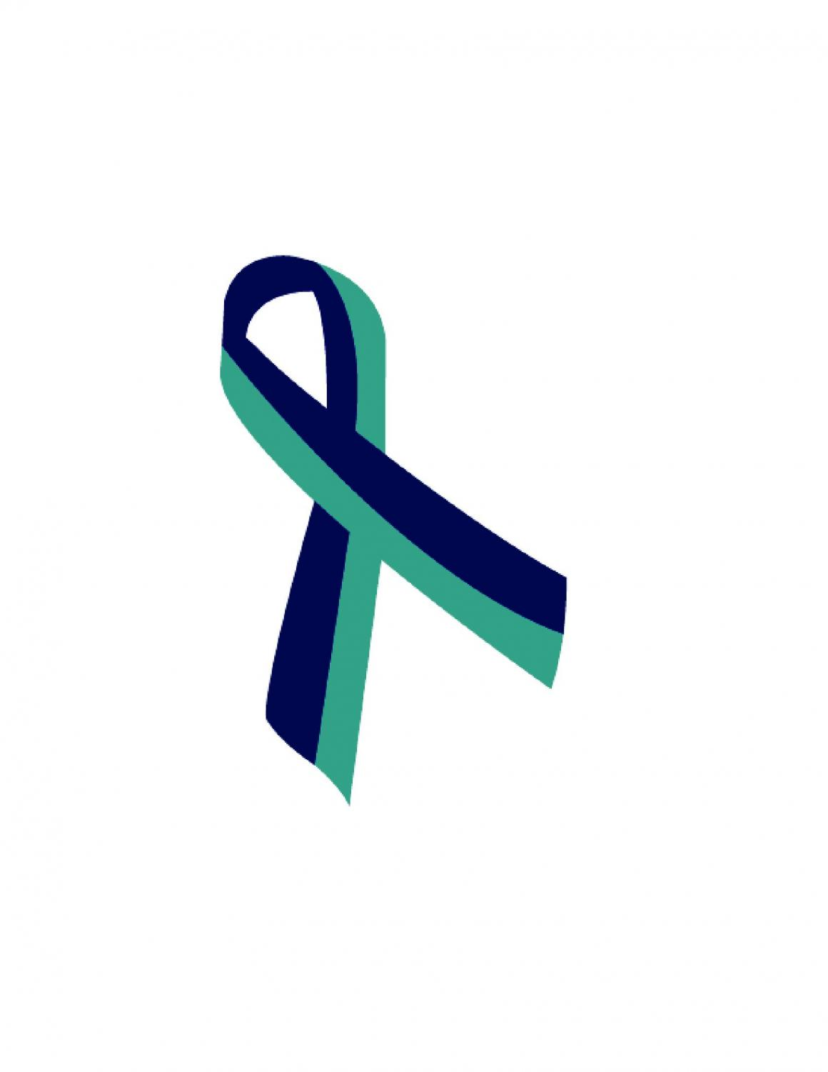 The turquoise and purple ribbon represents suicide prevention.