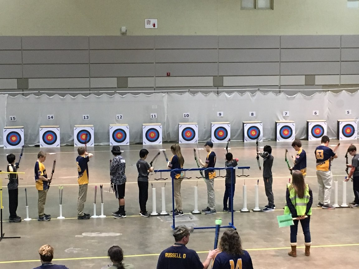 Grand Ledge archers shoot in the sixth and last flight of the day at the State Tournament. The tournament was held at the Lansing Center for the first time.