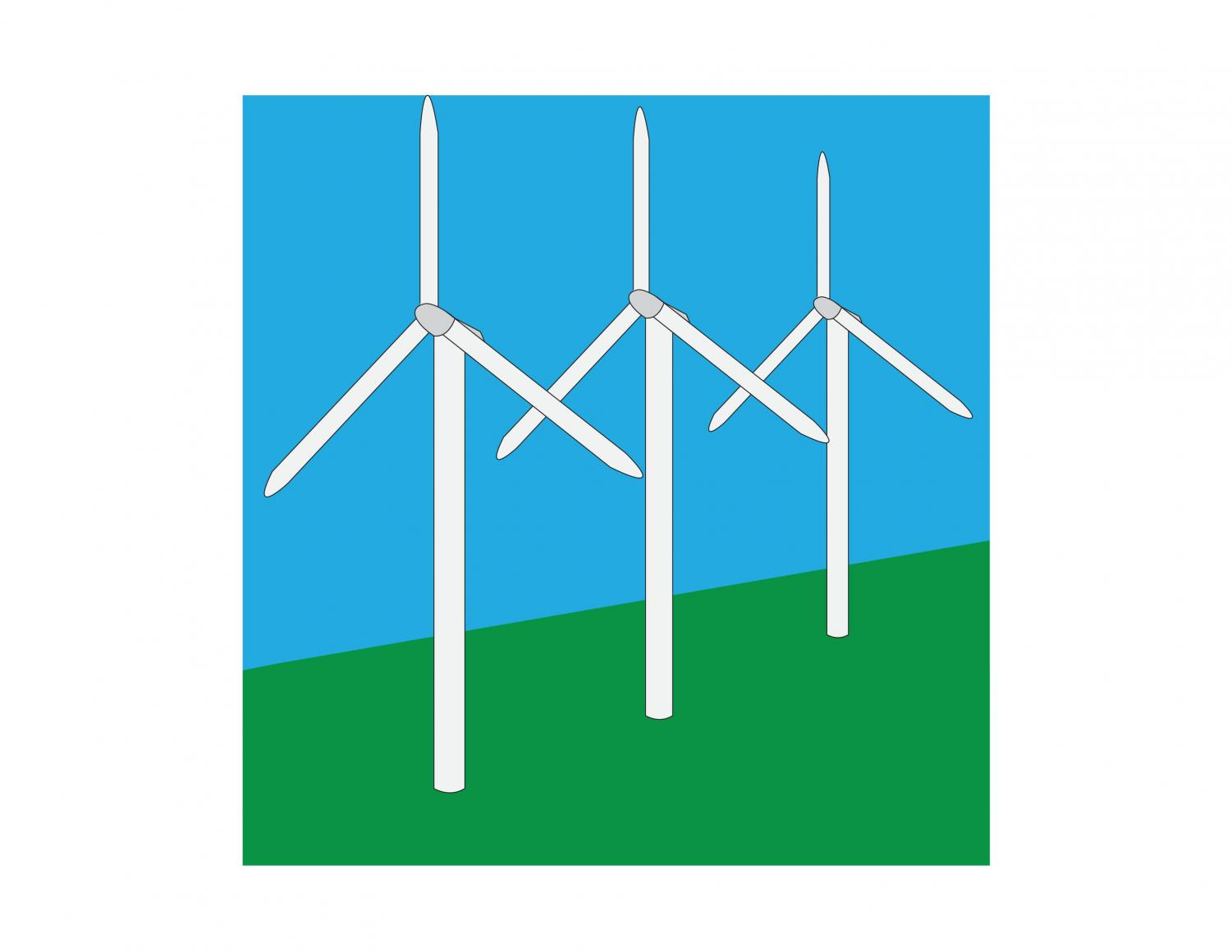 Wind turbines are a source of clean and renewable energy, along with solar panels.