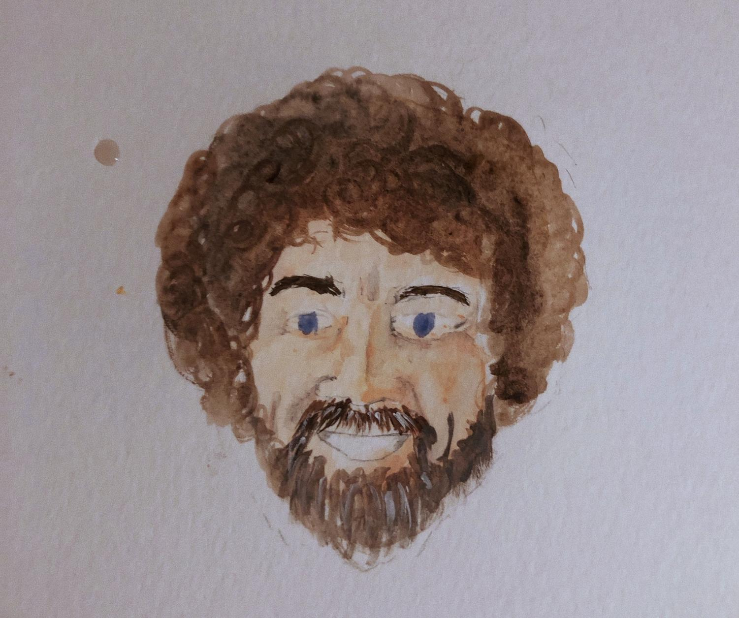One of the Comets' Tale staff, Sydney Mullet, painted this picture of Bob Ross.