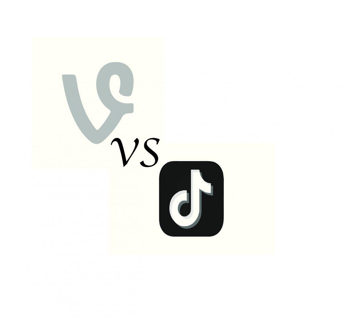 Vine logo versus the Tik Tok logo. Graphic by Cole Harkins.