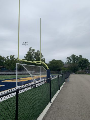 The Grand Ledge Football field that was stormed upon, which caused a cancellation on Sept. 5. This resulted in a reschedule of play for Sept. 6.