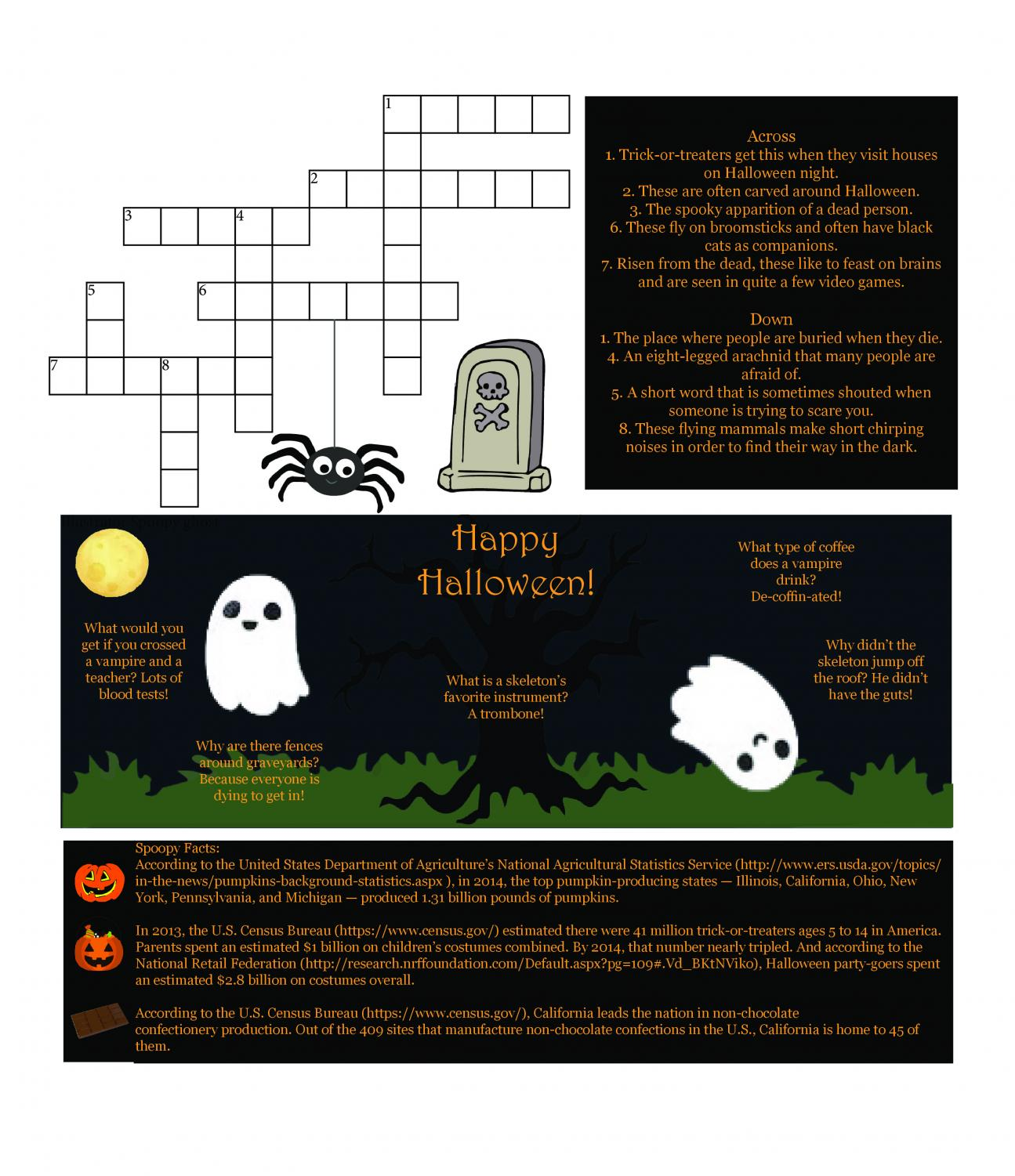 Enjoy some good spooky fun with this Halloween puzzle page! Crosswords, jokes, facts, and more poured into just one page? We must be crazy!
