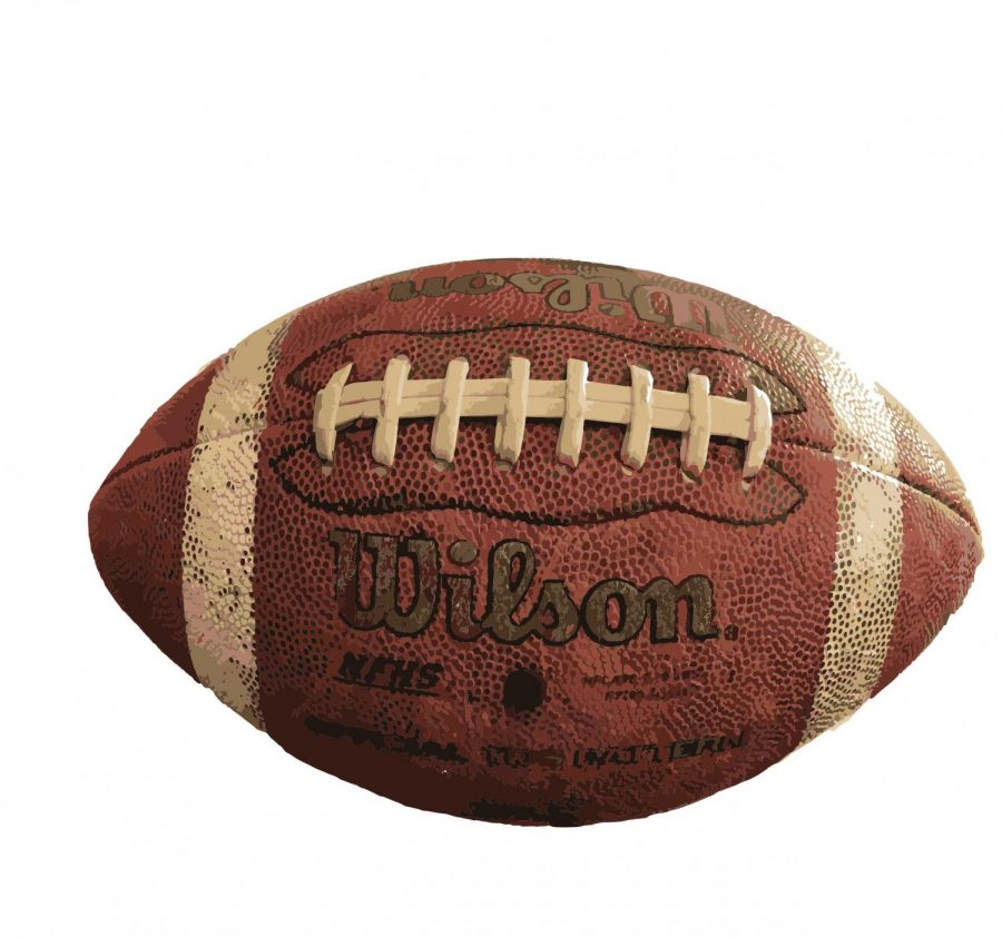 Cameron Roberts, a senior Varsity Football player, has had this football in his family since childhood. His dad gave it to him when he was 13.