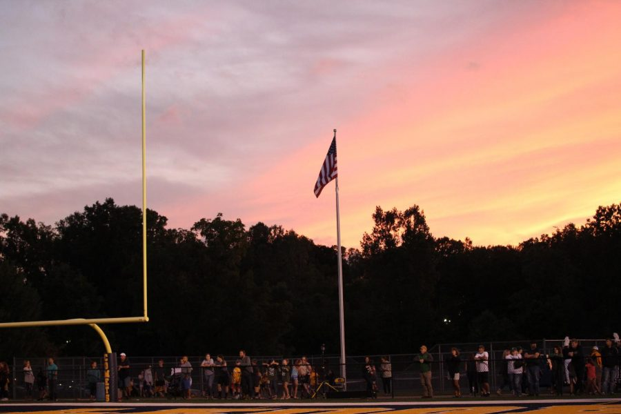 The+flag+flies+at+the+Grand+Ledge+High+School+football+field+preparing+for+the+Fallen+Heroes+game+on+September+13th.+The+town+was+honored+one+again+to+remember+those+who+so+bravely+fought+for+our+country.