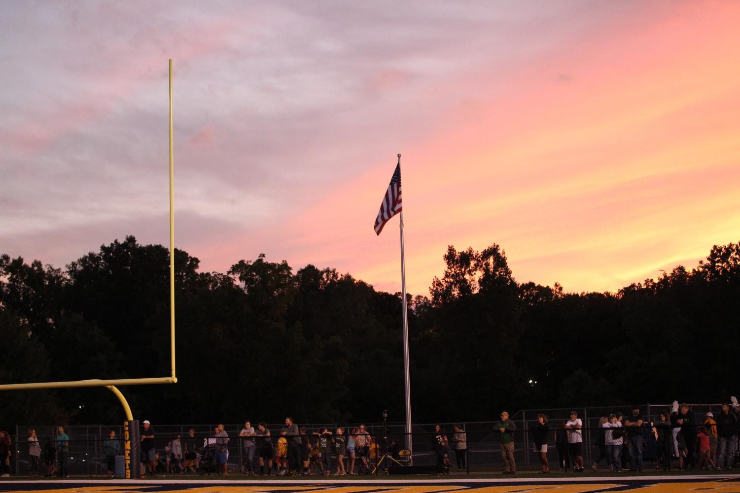 The flag flies at the Grand Ledge High School football field preparing for the Fallen Heroes game on September 13th. The town was honored one again to remember those who so bravely fought for our country.