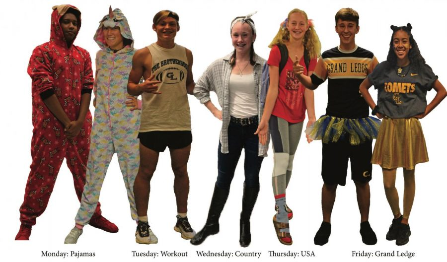 Students from all grades participate in school spirit. Most dressed up every single day.