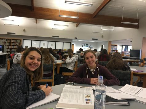 Grand Ledge High School juniors Abby Hernandez and Brianna Stange working on homework in the library.