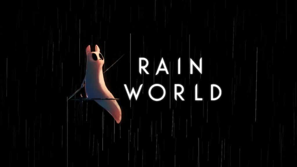 The title screen of Rain World displays the main character right next to the name of the game. This is the screen you see right before the game starts and you choose what file to play.