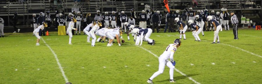 Grand Ledge lines up to take the snap against a very disciplined defense