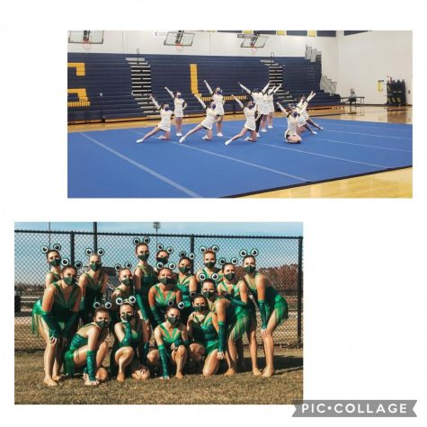 Top: GLHS Competitive Cheer Team at their home competition Bottom: Varsity Pom preforming at their High Kick competition