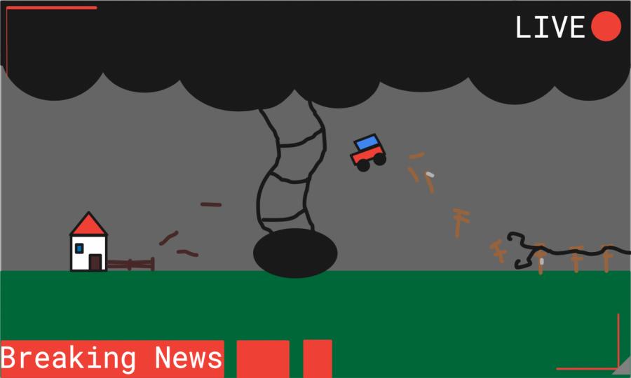 Breaking news footage of a tornado